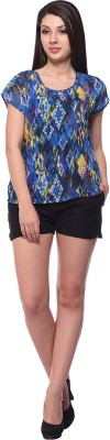 Nineteen Casual Cap sleeve Printed Women's Multicolor Top