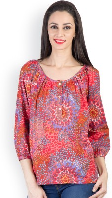 Tops and Tunics Casual 3/4 Sleeve Printed Women's Red Top