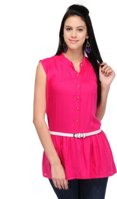 Dolla Casual, Festive, Formal, Lounge Wear, Party, Sports, Wedding Sleeveless Solid Women's Pink Top