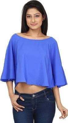 Gossip Girls Casual Butterfly Sleeve Solid Women,s Blue Top