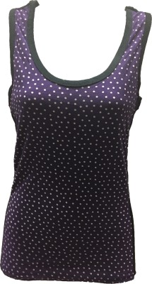 Dovekie Casual Sleeveless Polka Print Women's Purple, White Top