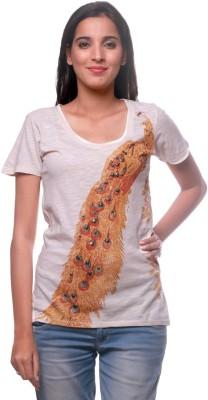 La Divyyu Party Short Sleeve Printed Women's Beige Top