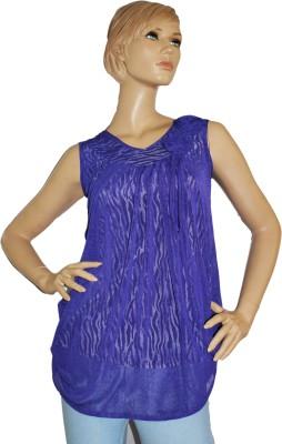 SayAlo Casual Sleeveless Self Design Women's Blue Top