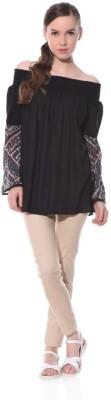 XNIVA Casual Full Sleeve Printed Women's Black Top