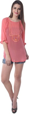 Florrie fusion Casual 3/4 Sleeve Embroidered Women's Pink Top