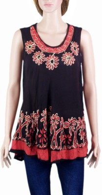 VR Designers Casual, Beach Wear Sleeveless Embroidered Women's Black, Red Top