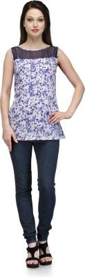 Glamdiva Casual Sleeveless Printed Women's Blue Top