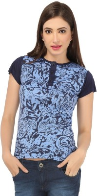 Pick Pocket Casual Short Sleeve Printed Women's Blue Top