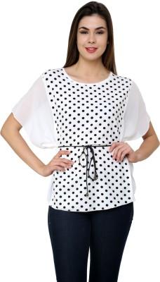 Blissskart Casual Short Sleeve Polka Print Women's White, Black Top