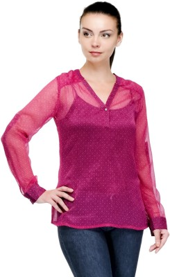 Pique Republic Casual Full Sleeve Woven Women's Pink Top