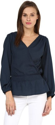 Rare Casual Full Sleeve Solid Women,s Blue Top