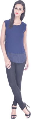 Zupe Casual Sleeveless Solid Women's Blue Top