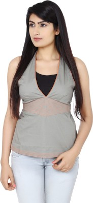 Eves Pret A Porter Casual Sleeveless Solid Women's Grey, Orange Top at flipkart