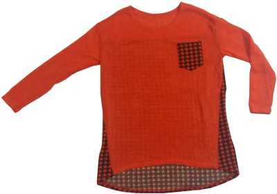 Symbol Couture Casual, Lounge Wear Full Sleeve Checkered, Solid Women's Orange Top