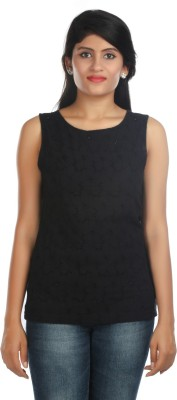 Zoe Fashions Formal Sleeveless Embroidered Women's Black Top