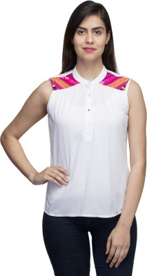 LY2 Casual Sleeveless Solid Women,s White Top