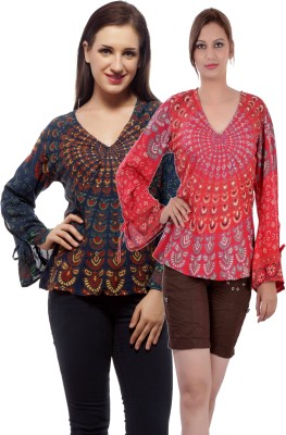 Indi Bargain Casual, Party, Formal, Beach Wear Full Sleeve Printed, Floral Print Women's Dark Blue, Red Top