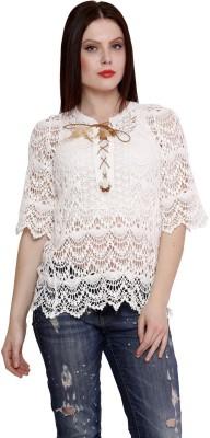 MALVIN Casual 3/4 Sleeve Self Design Women's White Top