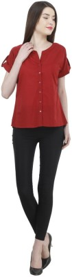 Uptowngaleria Formal Short Sleeve Solid Women's Red Top