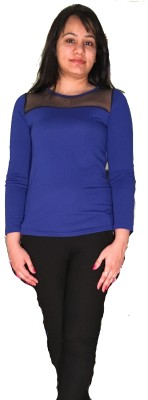 Pashchimi Poushak Party Full Sleeve Solid Girl's Blue, Black Top