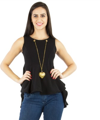 Western World Party Sleeveless Solid Women's Black Top