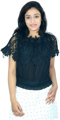 Shopaholic Fashion Casual Short Sleeve Printed Women's Black Top