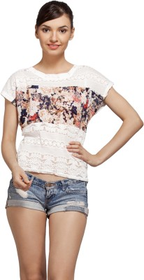 Flevio Casual Short Sleeve Printed Women's White Top