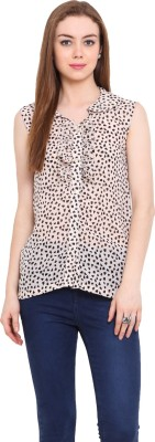 Desi Urban Casual Sleeveless Animal Print Women's Pink Top
