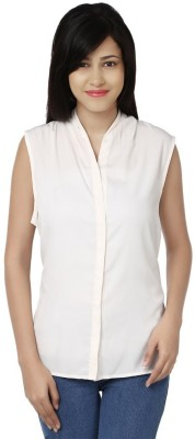 Chickstop Casual, Party Sleeveless Solid Women's Beige Top