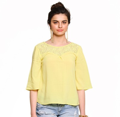 Zink London Casual 3/4 Sleeve Solid Women's Yellow Top