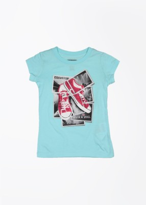 Converse Casual Short Sleeve Printed Girl's Blue Top