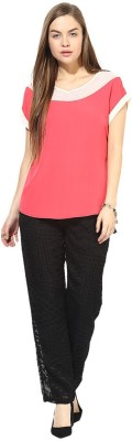 Latin Quarters Casual Short Sleeve Solid Women's Pink Top