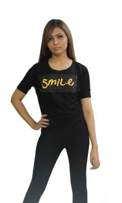 Beautic Casual, Formal Short Sleeve Self Design Women's Black Top