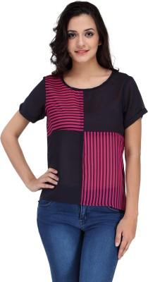 Motif Casual Short Sleeve Striped Women's Black, Pink Top