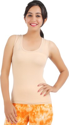 Rham Gold Casual Sleeveless Solid Women's Beige Top