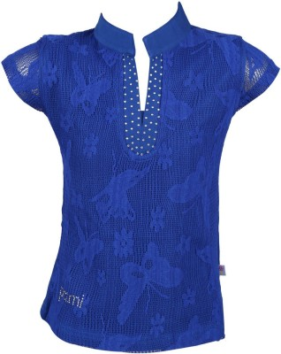 Pami Party Short Sleeve Solid Baby Girl's Blue Top