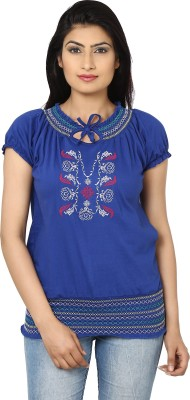 Adhaans Casual Short Sleeve Embroidered Women's Blue Top