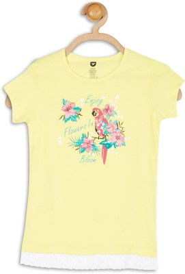 612 League Casual Short Sleeve Printed Girl's Yellow Top
