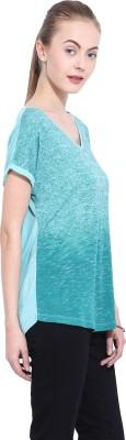 Leo Sansini Casual Short Sleeve Solid Women's Green Top