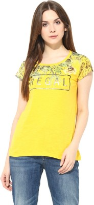 Fritzberg Casual Cape Sleeve Printed Women's Yellow Top