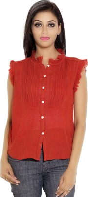 Simplona beau Casual Sleeveless Solid Women's Red Top