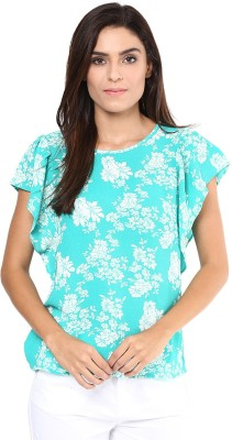 Harpa Casual Bell Sleeve Floral Print Women's Green Top