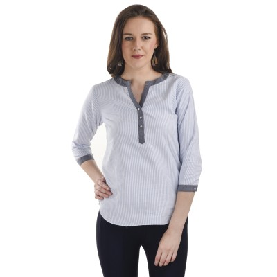 Ausehen Casual 3/4 Sleeve Striped Women's White, Grey Top