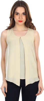 Colors Couture Casual Sleeveless Solid Women's Beige Top