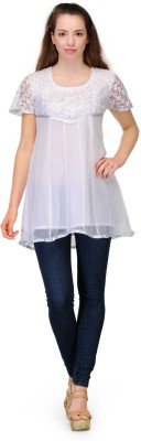 Belle Party Short Sleeve Embellished Women's White Top
