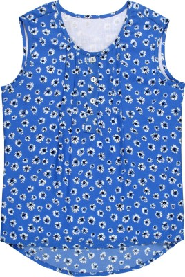 Teeny Tantrums Casual Sleeveless Printed Girl's Blue Top