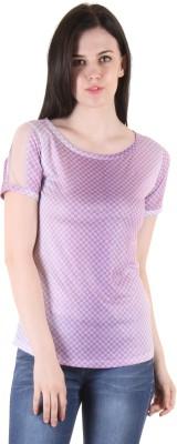 SS Casual Short Sleeve Printed Women's Purple Top