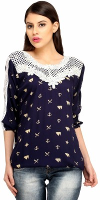 Snoby Casual 3/4 Sleeve Printed Women's Blue Top