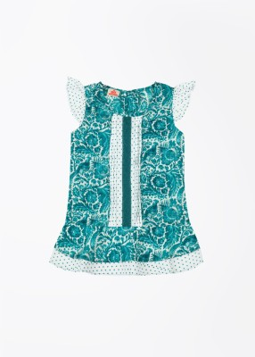 UFO Casual Short Sleeve Printed Girl's White, Green Top