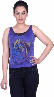 Sellsy Casual Sleeveless Solid Women's Blue Top